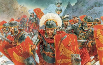 Roman century charging in battle led by a centurion
