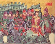 Byzantine Cataphracts and emperor in the Alexander Chronicle