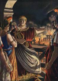 Emperor Nero and his court with Rome burning