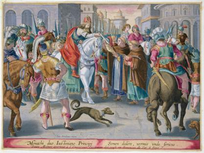 Justinian I receives silk worms from China, 552