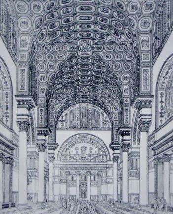 Ceiling and interiors of the Baths of Caracalla