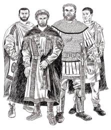 The 4 emperors of the Tetrarchy, left to right: Galerius, Diocletian, Maximian, and Constantius I
