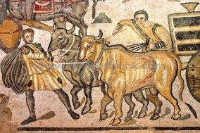 Mosaic depicting traffic jams in Rome