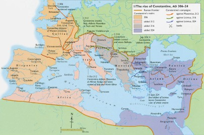 Map of Constantine I's victory over the whole empire
