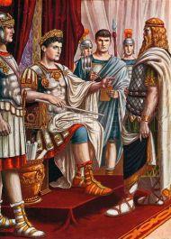 Dacian kind Decebalus surrenders to Trajan, 102