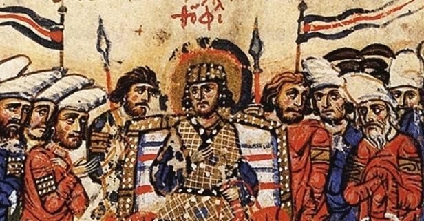 Emperor Theophilos (r. 829-842) with Byzantine senators