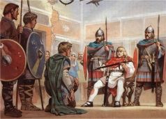 Court of King of Italy Odoacer (476-493) in Ravenna with his army and Roman senators (behind)