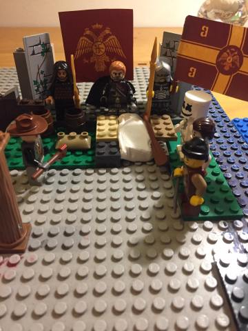 Andronikos II buries his father Michael VIII in private (lego)