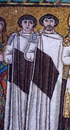 Byzantine senators John of Cappadocia (left) and Belisarius (right) in senator's robes