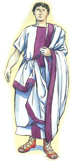 Roman senator in senator's white toga with purple stripe