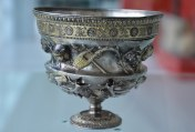 Ornately carved Roman silver drinking cup