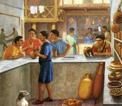 Roman pub and butcher scene
