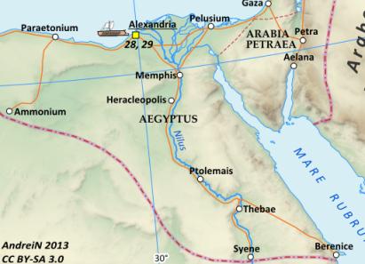 Map of the Roman Province of Egypt (Aegyptus)