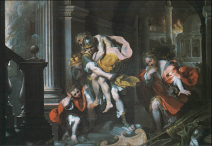 Aeneas escapes Troy