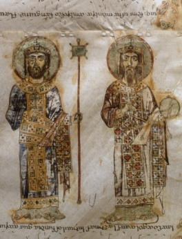 Co-emperors Basil II (960-1025) and Constantine VIII (962-1028) in the imperial Loros