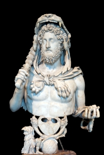 Intricate sculpture of Commodus the Gladiator as Hercules