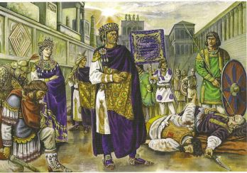 Justinian I and Theodora at the aftermath of the Nika Riot, 532