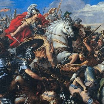 Alexander the Great leads his army in battle