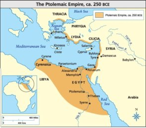 Map of the Ptolemaic Empire of Egypt at its largest, 250BC