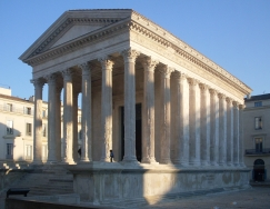 Maison Carree, intact Roman temple in Nimes, France