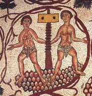 Roman mosaic of wine making