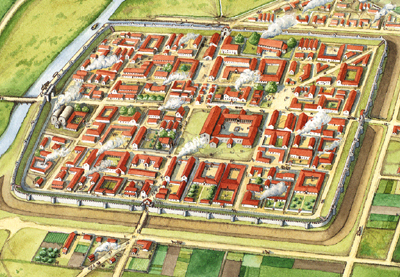 Roman town with a grid pattern