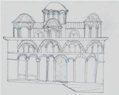 Sketch of Byzantine dome church architecture