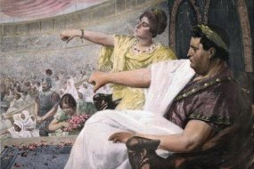 Emperor Nero and empress Poppaea in the imperial box