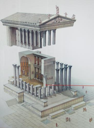 Diagram of a basic Roman temple