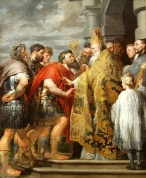 Theodosius I before Bishop of Milan St. Ambrose