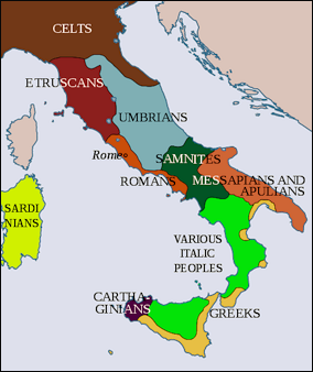 Map of Italy in 500BC