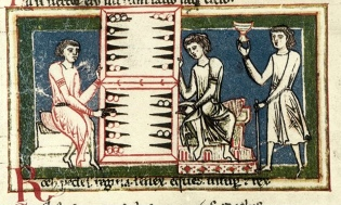 Medieval illustration of Backgammon (Tabula), said to be invented by Khosrow I
