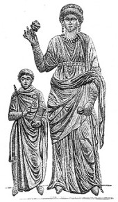 Galla Placidia and young Valentinian III
