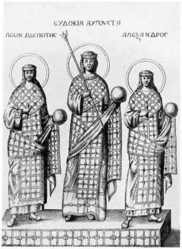 Empress Eudokia Ingerina with her sons Leo and Alexander
