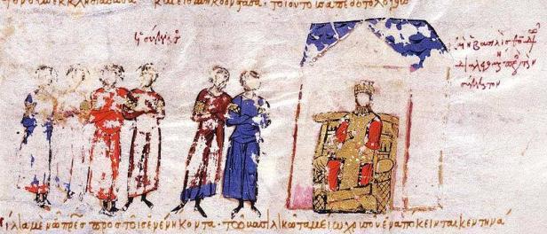 Empress Theodora with the Byzantine Senate, Madrid Skylitzes
