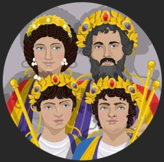 Reconstructed Tondo of the Severan family with Emperor Septimius Severus, wife Julia Domna and sons Geta and Caracalla