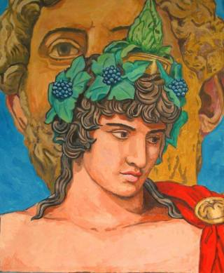 Antinous, Greek lover of Hadrian with Hadrian behind