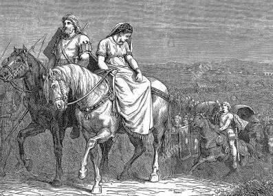 Galla Placidia and Visigoth king Athaulf in Gaul