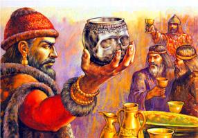 Bulgarian king Krum drinks from the skull of Byzantine emperor Nikephoros I, 811