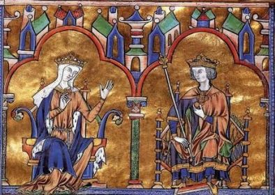 Medieval manuscript of King Louis IX (right) and his mother Blanche of Castile (left)