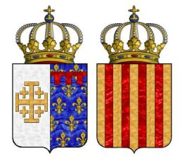 Charles I's Angevin French coat of arms (left) and Aragon coat of arms (right)