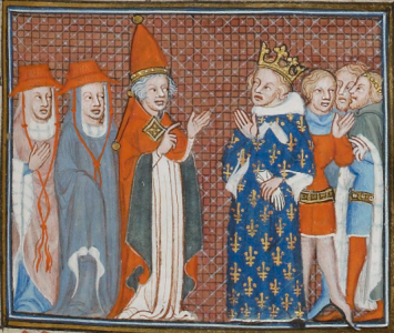 King Charles of Anjou (right) with Pope Martin IV (left)