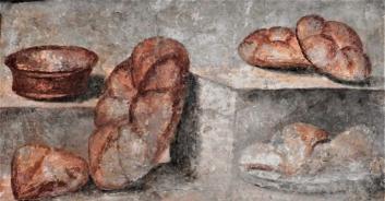 Fresco of Roman bread