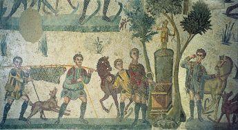 Mosaic of preparing Roman food
