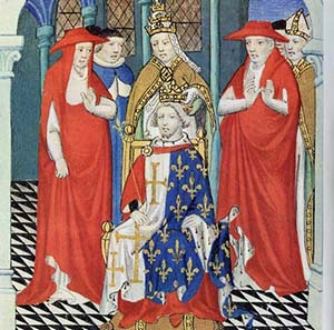 Charles I of Anjou king of Sicily with Pope Martin IV behind