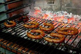 Smoked fake pork sausages