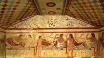 Etruscan fresco depicting dining
