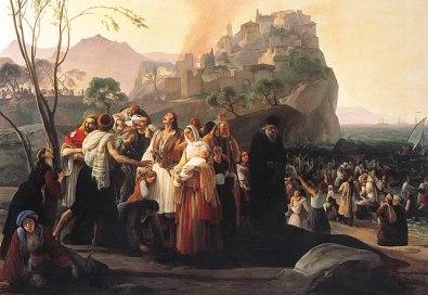 Scene of the Sicilian Vespers painted by Francesco Hayez