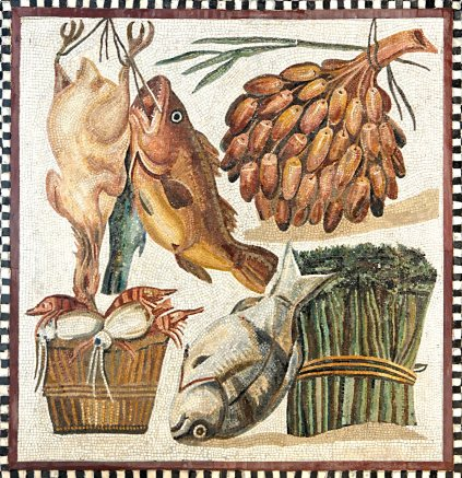 Mosaic of Roman ingredients- chicken, fish, legumes, and vegetables