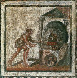 Mosaic of a Roman baking bread